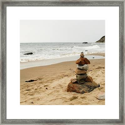 Beach Cairn  Framed Print by Dawn Romine