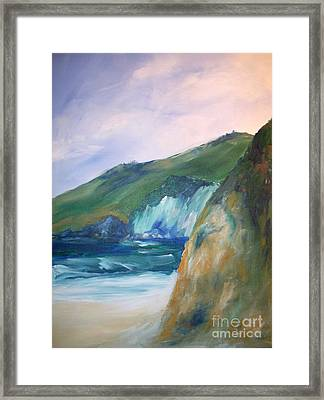 Framed Print featuring the painting Beach California by Eric  Schiabor