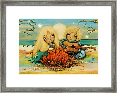 Beach Campfire Framed Print by Karin Taylor