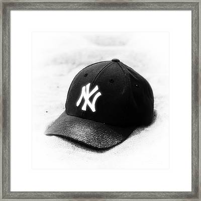 Beach Cap Black And White Framed Print by John Rizzuto
