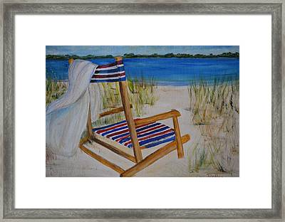 Framed Print featuring the painting Beach Chair by Debbie Baker