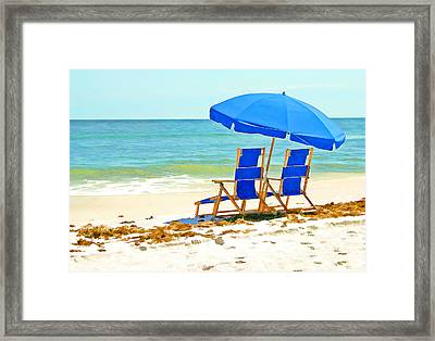 Beach Chairs And Umbrella Framed Print by Elaine Plesser