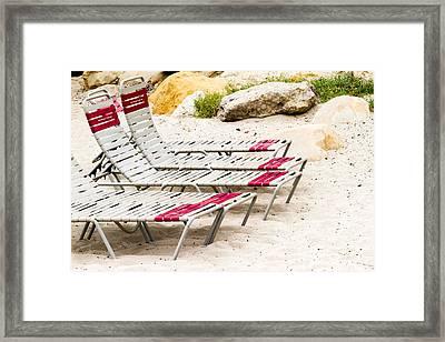Beach Chairs Framed Print by Bernard  Barcos