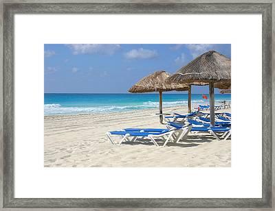 Beach Chairs In Cancun Framed Print