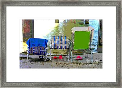 Framed Print featuring the photograph Beach Chairs by Jeanne Forsythe