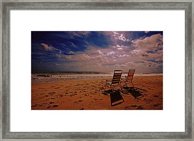 Framed Print featuring the photograph Beach Chairs by John Harding