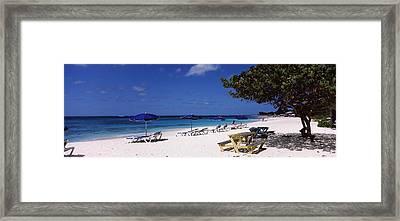 Beach Chairs On The Beach, Shoal Bay Framed Print