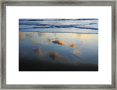 Beach Clouds Reflected At Sunset Texel Framed Print