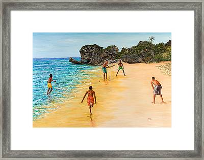 Beach Cricket Framed Print by Victor Collector