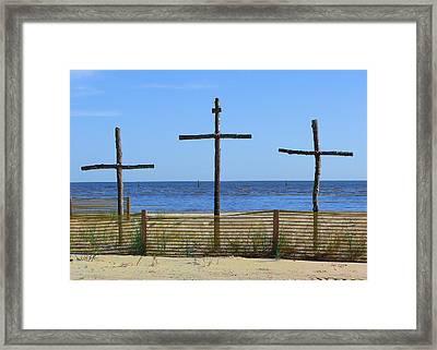 Beach Crosses Framed Print