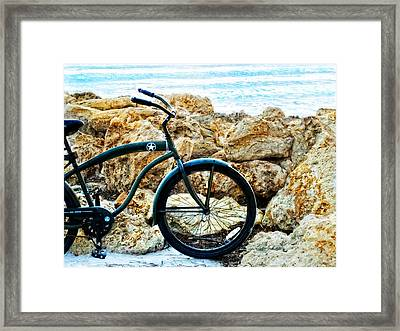 Beach Cruiser - Bicycle Art By Sharon Cummings Framed Print