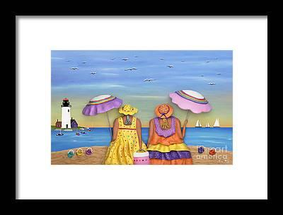 Fat Women On Beach Framed Prints