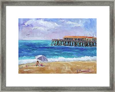 Framed Print featuring the painting Beach Day by Jennifer Beaudet
