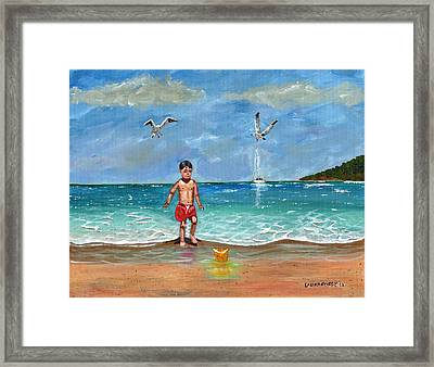 Framed Print featuring the painting Beach Day by Laura Forde