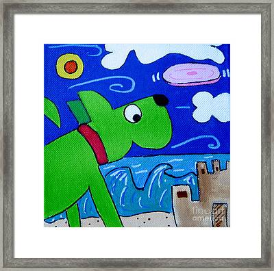 Beach Dog Framed Print by Susan Sorrell