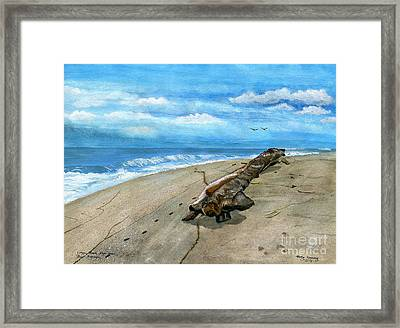 Framed Print featuring the painting Beach Drift Wood by Melly Terpening