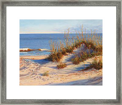 Beach Dune, Atlantic Ocean Beach Framed Print by Elaine Farmer