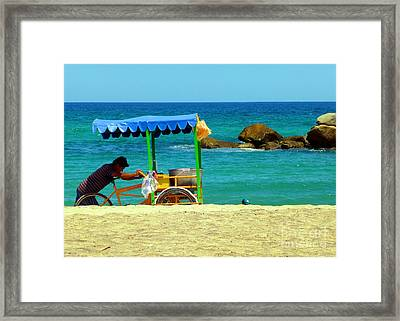 Beach Entrepreneur In San Jose Del Cabo Framed Print by Barbie Corbett-Newmin