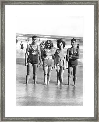 Beach Fashion Parade Winners Framed Print by Underwood Archives