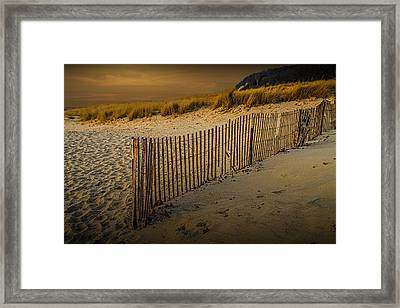 Beach Fence At Sunset Framed Print