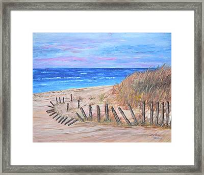 Framed Print featuring the painting Beach Fence by Debbie Baker