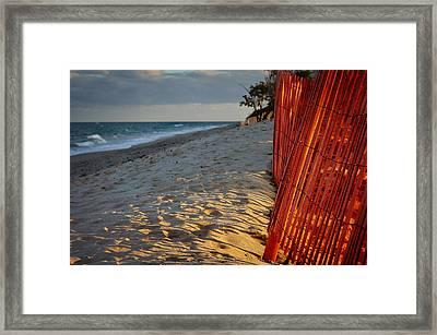 Beach Fence Framed Print by Laura Fasulo