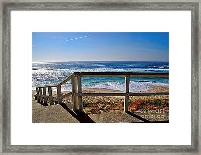 Beach Fence Ocean View By Kaye Menner Framed Print by Kaye Menner