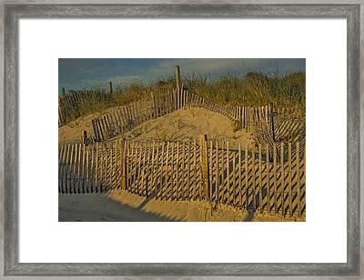 Beach Fence Framed Print by Susan Candelario