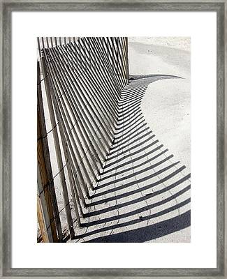 Framed Print featuring the photograph Beach Fence With Shadow by Ellen Tully