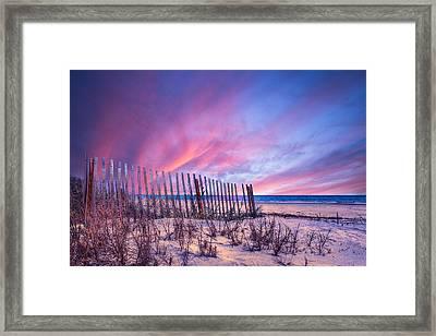 Beach Fences Framed Print by Debra and Dave Vanderlaan