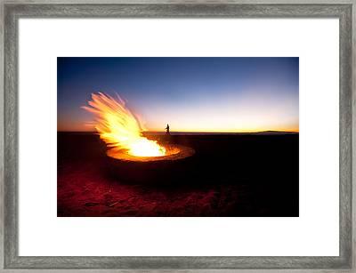 Beach Fire Pit Framed Print by Joe Belanger