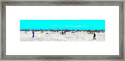 Beach Fun Frisbee Framed Print