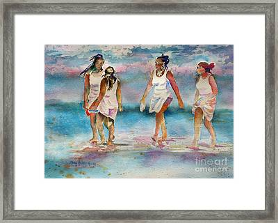 Framed Print featuring the painting Beach Fun by Mary Haley-Rocks