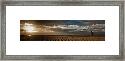 Beach Girl At Sunset Framed Print