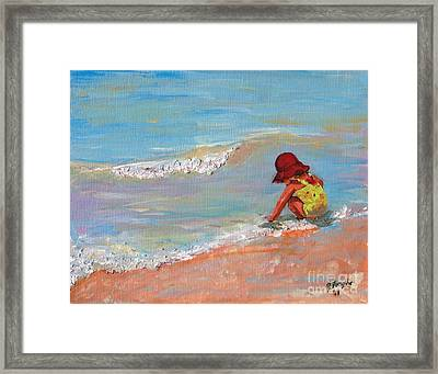 Framed Print featuring the painting Beach Girl In Red Hat by Jeanne Forsythe