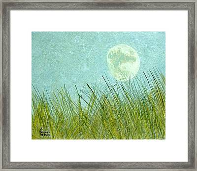 Beach Grass With Moon Framed Print by Kenny Henson