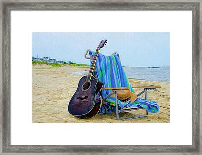 Beach Guitar Framed Print by Bill Cannon