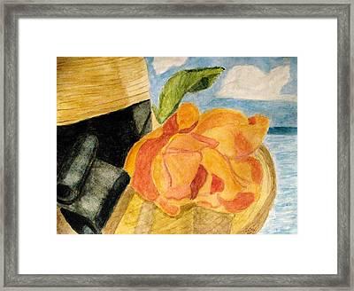 Beach Hat Framed Print by Angela Davies