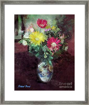 Beach House Flowers Framed Print