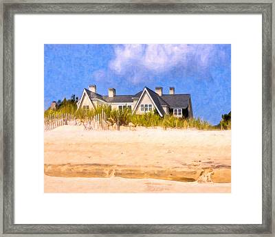 Beach House In The Hamptons Framed Print by Mark E Tisdale