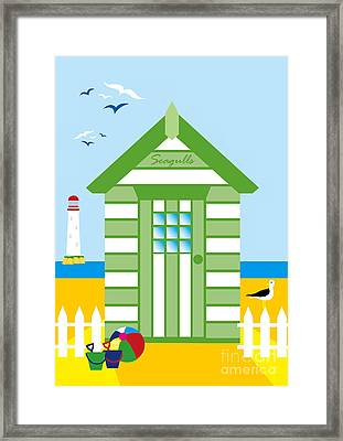 Beach Hut Seagull Framed Print by Neil Finnemore