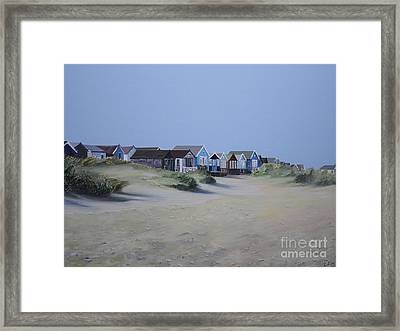 Beach Huts And Dunes Framed Print by Linda Monk
