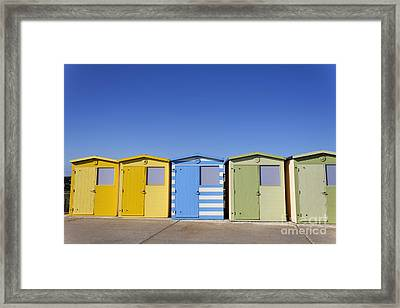 Beach Huts At Seaford In East Sussex In England Framed Print