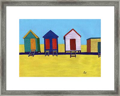 Beach Huts Framed Print by Bav Patel