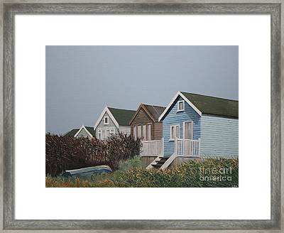 Beach Huts In A Row Framed Print by Linda Monk