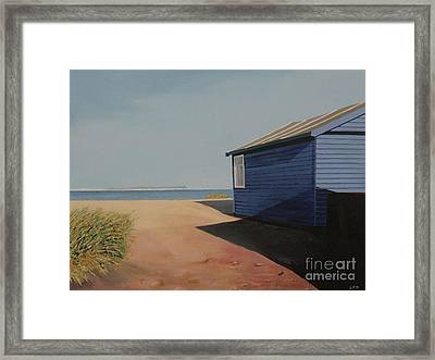 Beach Huts In The Sun Framed Print by Linda Monk