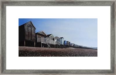Beach Huts Panoramic Framed Print
