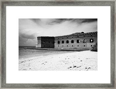 Beach In Front Of Fort Jefferson Brick Walls With Moat Dry Tortugas National Park Florida Keys Usa Framed Print by Joe Fox