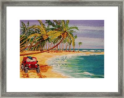 Beach Jeepin' Framed Print