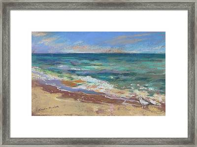 Framed Print featuring the painting Beach Meditation by Linda Novick